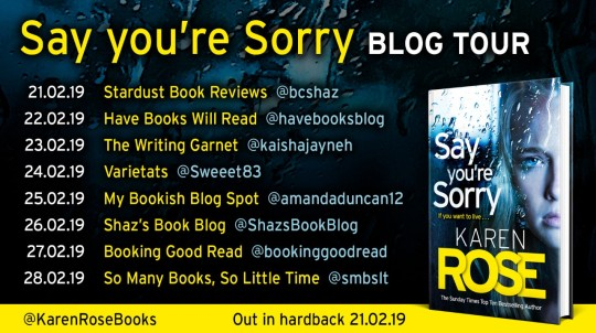 Say You're Sorry Blog Tour Poster